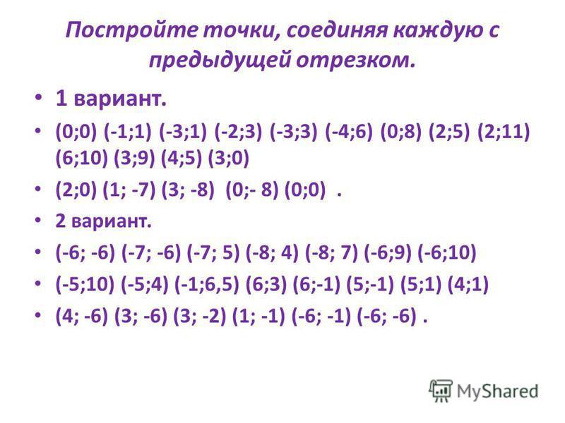 Постройте точки: (-3;-4), (-5;-1), (6;-1), (4;-4), (-3;-4). Соедините каждую отрезком с предыдущей. Постройте точки: (0;-1), (0;8), (7;1), (0;0). Соедините. Проверка