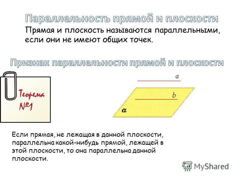 Теорема 1 Если прямая, не лежащая в данной плоскости, параллельна какой-нибудь прямой, лежащей в этой плоскости, то она параллельна данной плоскости.
