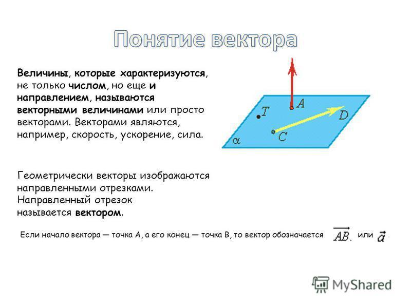Величины, которые характеризуются, не только числом, но еще и направлением, называются векторными величинами или просто векторами. Векторами являются, например, скорость, ускорение, сила. Геометрически векторы изображаются направленными отрезками. На