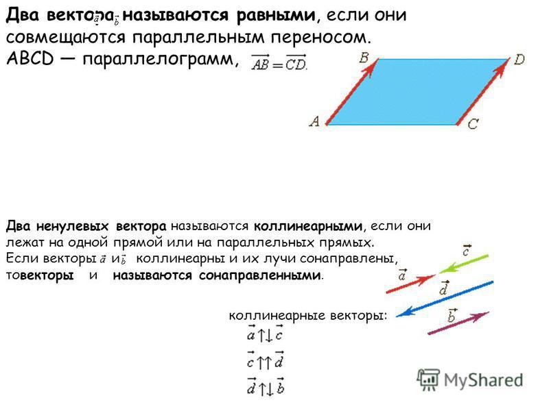 Два вектора называются равными, если они совмещаются параллельным переносом. АВСD параллелограмм, Два ненулевых вектора называются коллинеарныееми, если они лежат на одной прямой или на параллельных прямых. Если векторы и коллинеарныее и их лучи сона