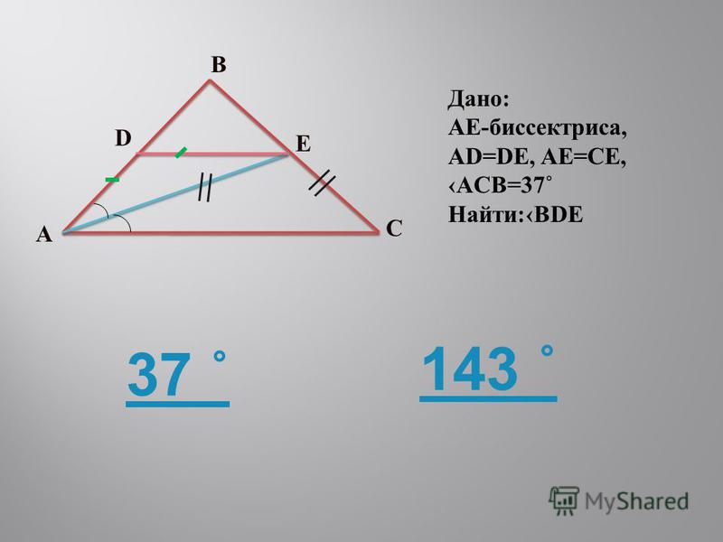A B C D E - - = = Дано: AE-биспектриса, AD=DE, AE=CE, ACB=37˚ Найти:BDE 37 ˚ 143 ˚