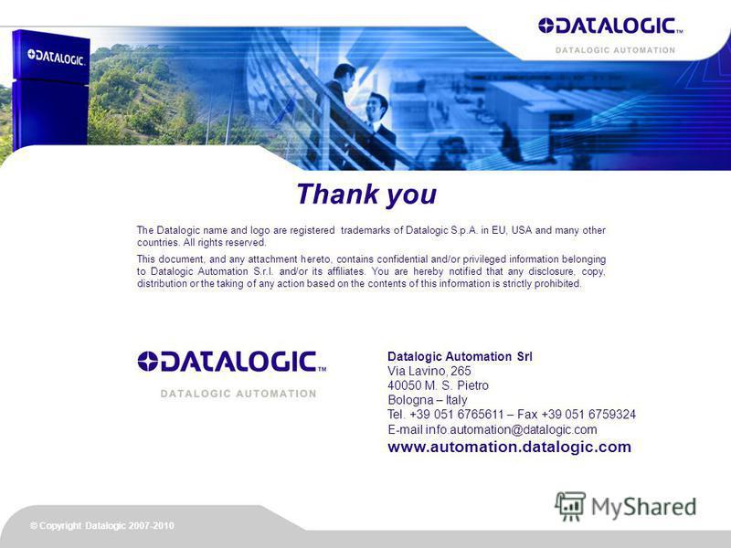 Datalogic Automation Srl Via Lavino, 265 40050 M. S. Pietro Bologna – Italy Tel. +39 051 6765611 – Fax +39 051 6759324 E-mail info.automation@datalogic.com www.automation.datalogic.com The Datalogic name and logo are registered trademarks of Datalogi