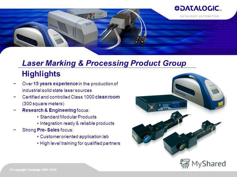 Laser Marking & Processing Product Group Over 15 years experience in the production of industrial solid state laser sources Certified and controlled Class 1000 clean room (300 square meters) Research & Engineering focus: Standard Modular Products Int