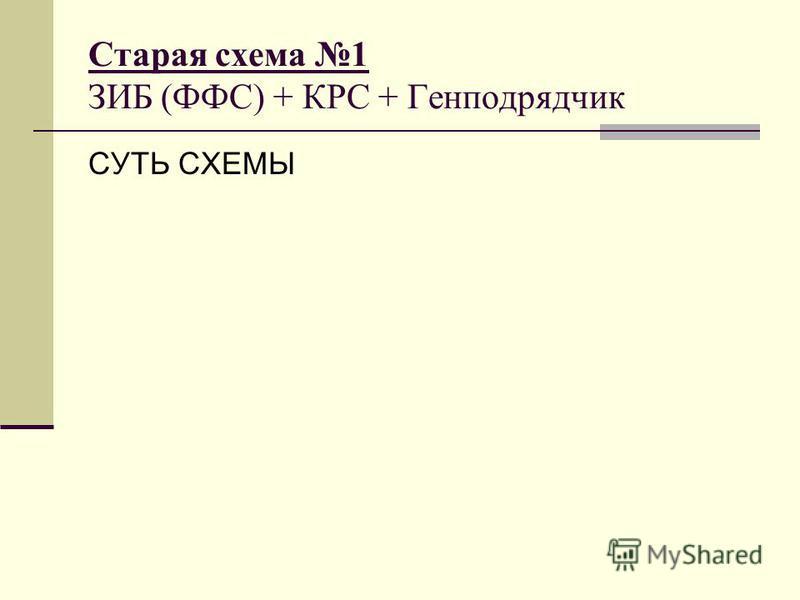 Старая схема 1 ЗИБ (ФФС) + КРС + Генподрядчик СУТЬ СХЕМЫ