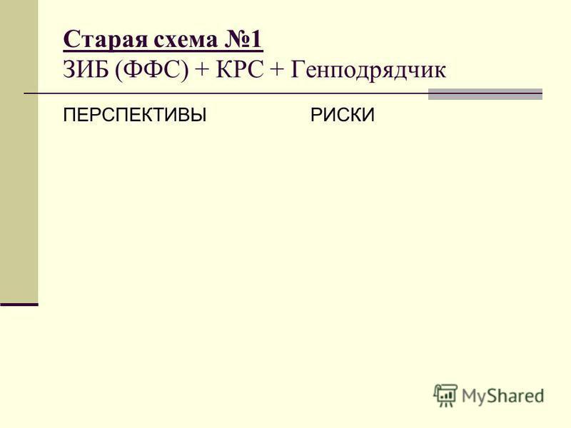 Старая схема 1 ЗИБ (ФФС) + КРС + Генподрядчик ПЕРСПЕКТИВЫРИСКИ