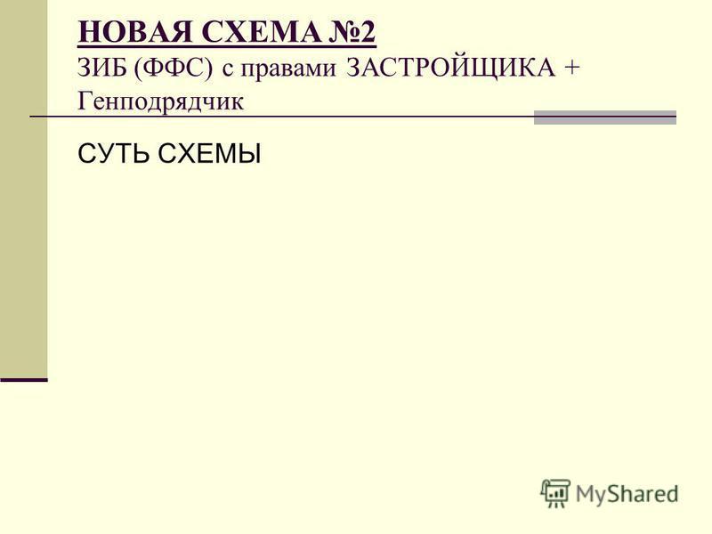 НОВАЯ СХЕМА 2 ЗИБ (ФФС) с правами ЗАСТРОЙЩИКА + Генподрядчик СУТЬ СХЕМЫ