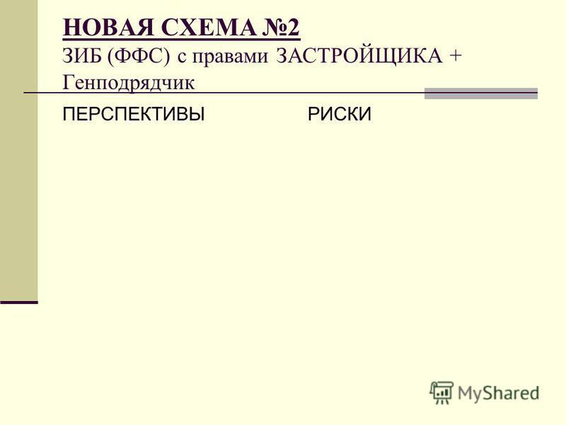 ПЕРСПЕКТИВЫРИСКИ НОВАЯ СХЕМА 2 ЗИБ (ФФС) с правами ЗАСТРОЙЩИКА + Генподрядчик