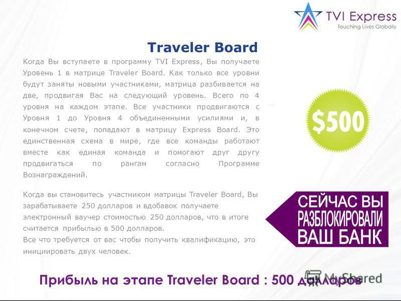 Когда Вы вступаете в программу TVI Express, Вы получаете Уровень 1 в матрице Traveler Board. Как только все уровни будут заняты новыми участниками, матрица разбивается на две, продвигая Вас на следующий уровень. Всего по 4 уровня на каждом этапе. Все