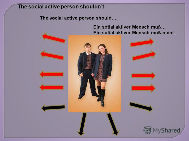 The social active person should…. The social active person shouldnt Ein sotial aktiver Mensch muß… Ein sotial aktiver Mensch muß nicht..