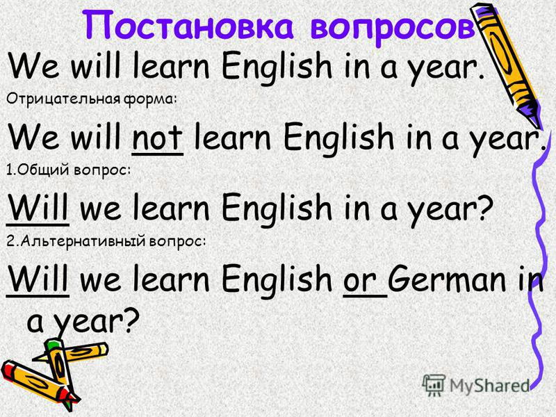 Постановка вопросов We will learn English in a year. Отрицательная форма: We will not learn English in a year. 1. Общий вопрос: Will we learn English in a year? 2. Альтернативный вопрос: Will we learn English or German in a year?