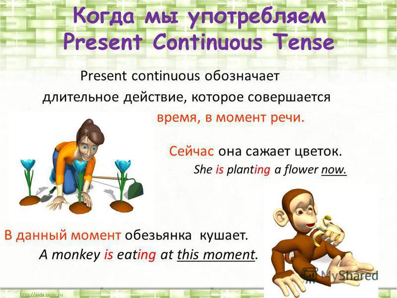 Present continuous обозначает длительное действие, которое совершается в настоящее время, в момент речи. Сейчас она сажает цветок. She is planting a flower now. В данный момент обезьянка кушает. A monkey is eating at this moment. Когда мы употребляем