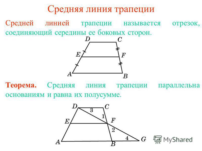 Средняя линия трапеции Средней линией трапеции называется отрезок, соединяющий середины ее боковых сторон. Теорема. Средняя линия трапеции параллельна основаниям и равна их полусумме.