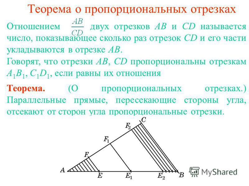 Теорема о пропорциональных отрезках Теорема. (О пропорциональных отрезках.) Параллельные прямые, пересекающие стороны угла, отсекают от сторон угла пропорциональные отрезки. Отношением двух отрезков AB и CD называется число, показывающее сколько раз