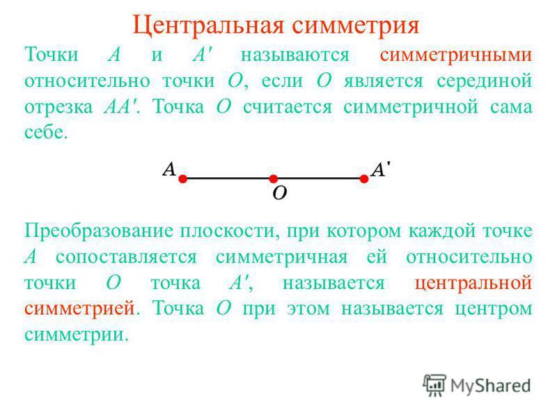 Центральная симметрия Точки А и А' называются симметричными относительно точки О, если О является серединой отрезка АА'. Точка О считается симметричной сама себе. Преобразование плоскости, при котором каждой точке А сопоставляется симметричная ей отн