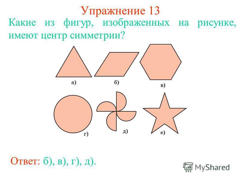 Упражнение 13 Какие из фигур, изображенных на рисунке, имеют центр симметрии? Ответ: б), в), г), д).