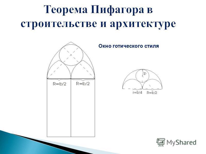 Теорема Пифагора в строительстве и архитектуре Окно готического стиля