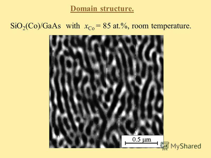Domain structure. SiO 2 (Co)/GaAs with x Со = 85 at.%, room temperature.