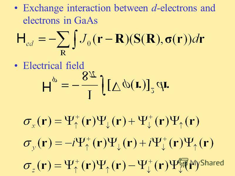 Exchange interaction between d-electrons and electrons in GaAs Electrical field