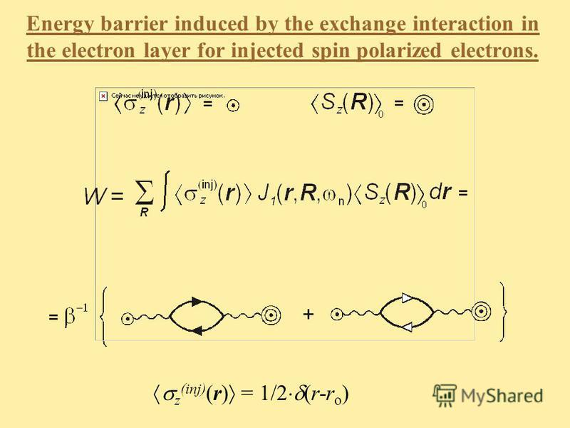 Energy barrier induced by the exchange interaction in the electron layer for injected spin polarized electrons. z (inj) (r) = 1/2 (r-r o )