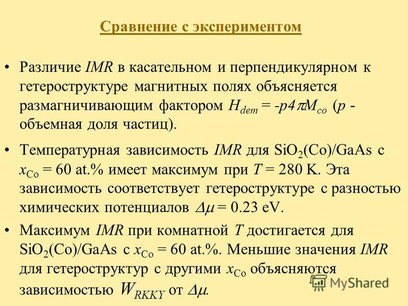 Сравнение с экспериментом Различие IMR в касательном и перпендикулярном к гетероструктуре магнитных полях объясняется размагничивающим фактором H dem = -p4 M co (p - объемная доля частиц). Температурная зависимость IMR для SiO 2 (Co)/GaAs с x Co = 60