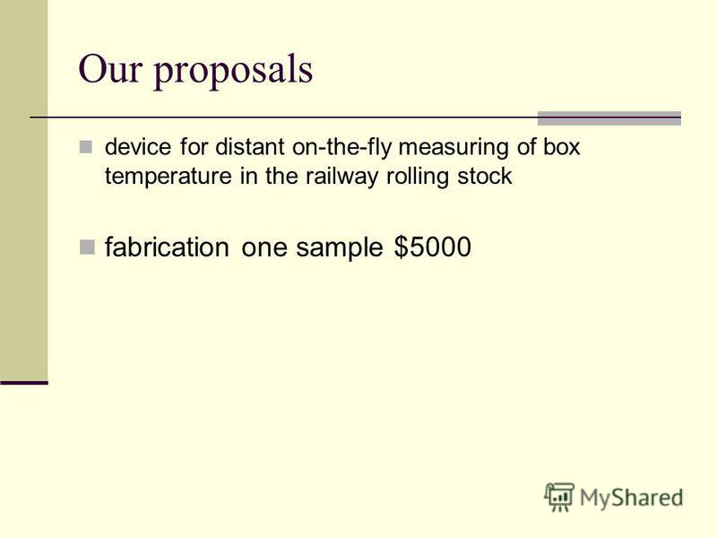 Our proposals device for distant on-the-fly measuring of box temperature in the railway rolling stock fabrication one sample $5000