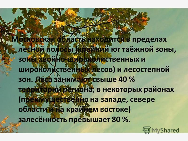 Московская область находится в пределах лесной полосы (крайний юг таёжной зоны, зоны хвойно-широколиственных и широколиственных лесов) и лесостепной зон. Леса занимают свыше 40 % территории региона; в некоторых районах (преимущественно на западе, сев