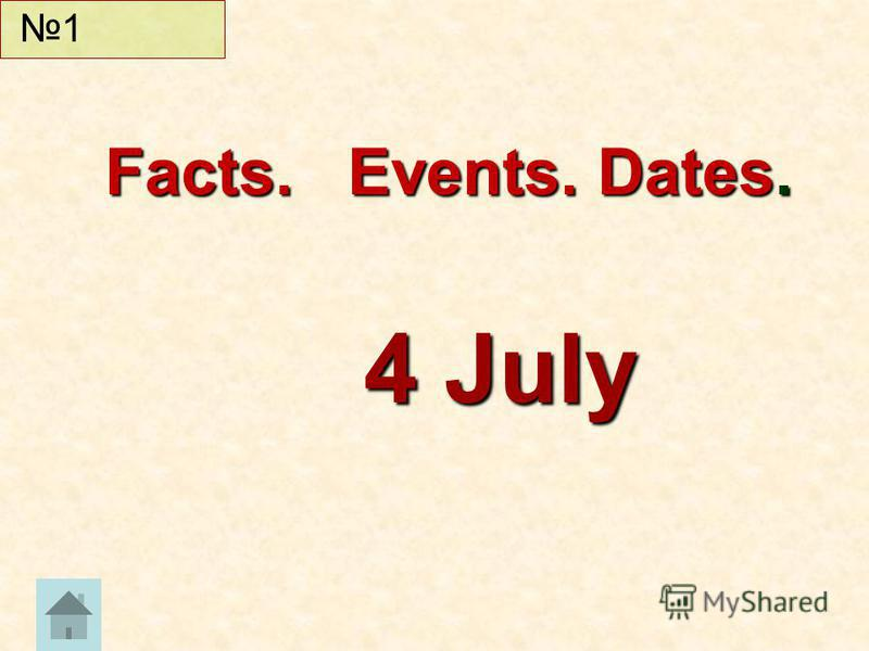 Facts. Events. Dates. 4 July 1