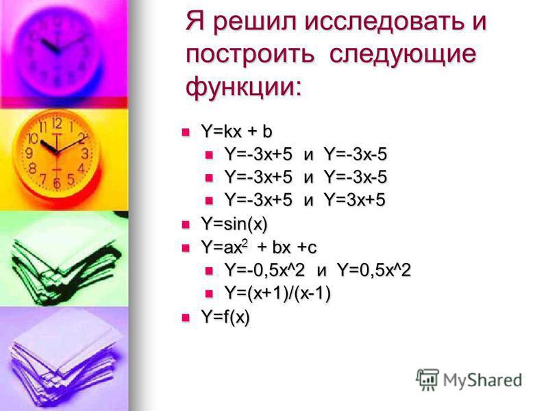 Я решил исследовать и построить следующие функции: Y=kx + b Y=kx + b Y=-3x+5 и Y=-3x-5 Y=-3x+5 и Y=-3x-5 Y=-3x+5 и Y=3x+5 Y=-3x+5 и Y=3x+5 Y=sin(x) Y=sin(x) Y=ax 2 + bx +c Y=ax 2 + bx +c Y=-0,5x^2 и Y=0,5x^2 Y=-0,5x^2 и Y=0,5x^2 Y=(x+1)/(x-1) Y=(x+1)