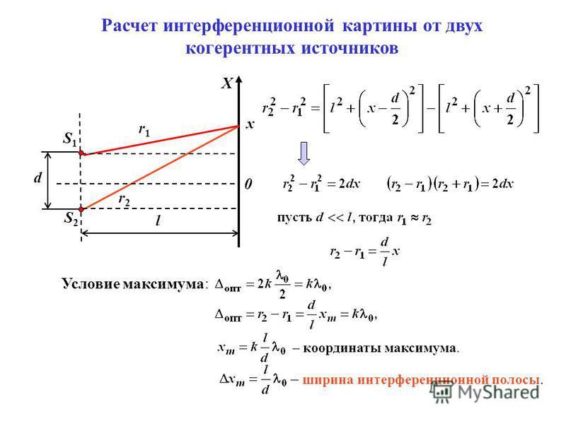 Расчет интерференционной картины от двух когерентных источников S1S1 S2S2 r1r1 r2r2 X d x l 0 Условие максимума: – координаты максимума. – ширина интерференционной полосы.