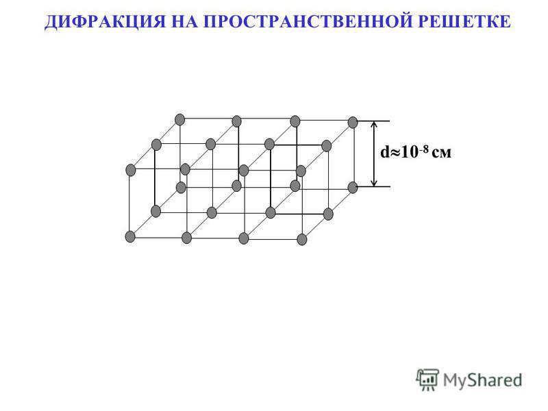 ДИФРАКЦИЯ НА ПРОСТРАНСТВЕННОЙ РЕШЕТКЕ d 10 -8 см