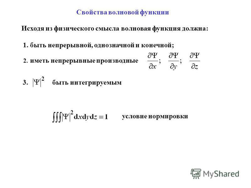 Свойства волновой функции Исходя из физического смысла волновая функция должна: 1. быть непрерывной, однозначной и конечной; 2. иметь непрерывные производные 3. быть интегрируемым условие нормировки