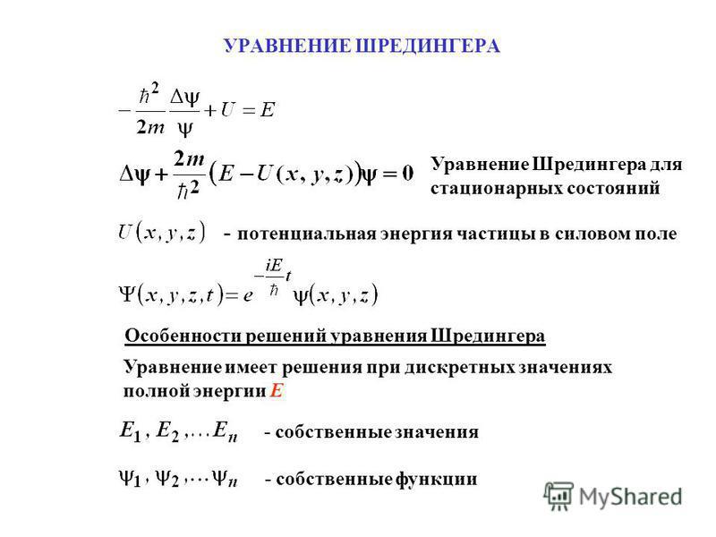 УРАВНЕНИЕ ШРЕДИНГЕРА Уравнение Шредингера для стационарных состояний - потенциальная энергия частицы в силовом поле Особенности решений уравнения Шредингера Уравнение имеет решения при дискретных значениях полной энергии E - собственные значения - со