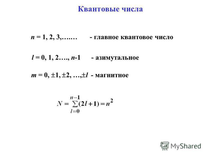 Квантовые числа n = 1, 2, 3,….… - главное квантовое число l = 0, 1, 2…., n-1 - азимутальное m = 0, 1, 2, …, l - магнитное