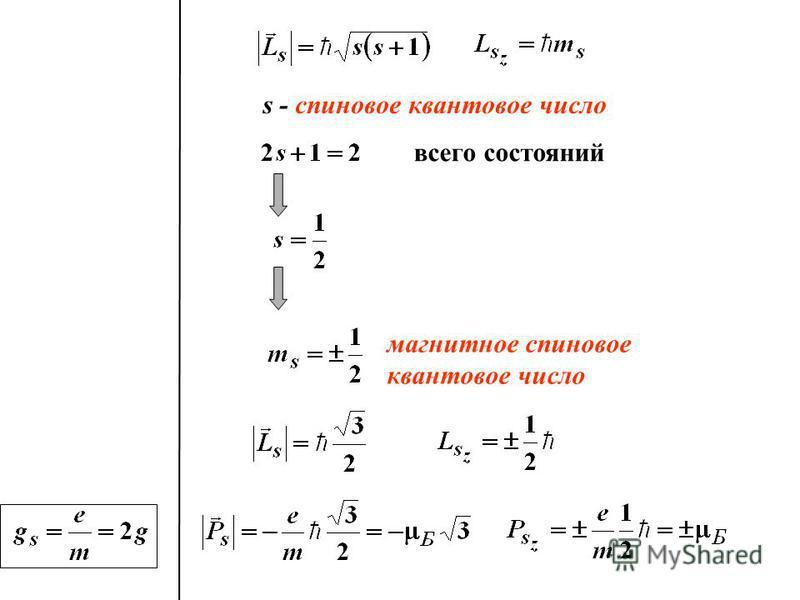 s - спиновое квантовое число всего состояний магнитное спиновое квантовое число