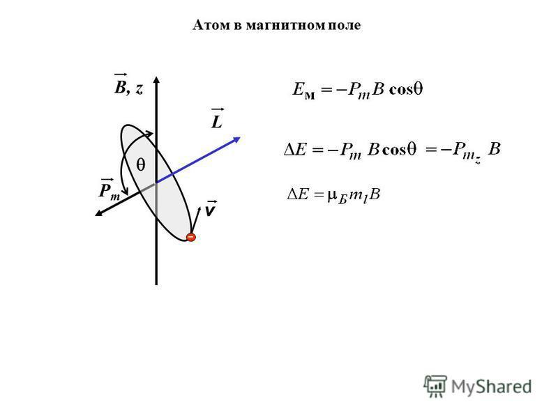 Атом в магнитном поле v L PmPm B, z