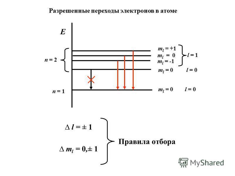 n = 2 n = 1 E m l = 0 l = 0 m l = +1 m l = 0 m l = -1 m l = 0 l = 0 l = 1 l = ± 1 m l = 0,± 1 Правила отбора Разрешенные переходы электронов в атоме