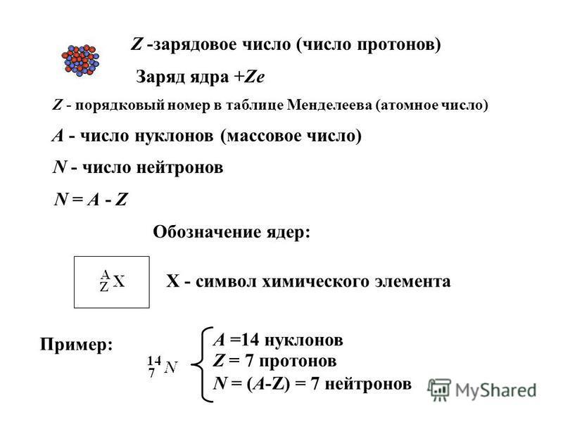 Z -зарядовое число (число протонов) Заряд ядра +Ze Z - порядковый номер в таблице Менделеева (атомное число) А - число нуклонов (массовое число) N - число нейтронов N = A - Z Обозначение ядер: X - символ химического элемента Пример: А =14 нуклонов Z