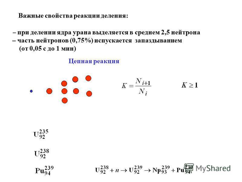 Важные свойства реакции деления: – при делении ядра урана выделяется в среднем 2,5 нейтрона – часть нейтронов (0,75%) испускается запаздыванием (от 0,05 с до 1 мин) Цепная реакция