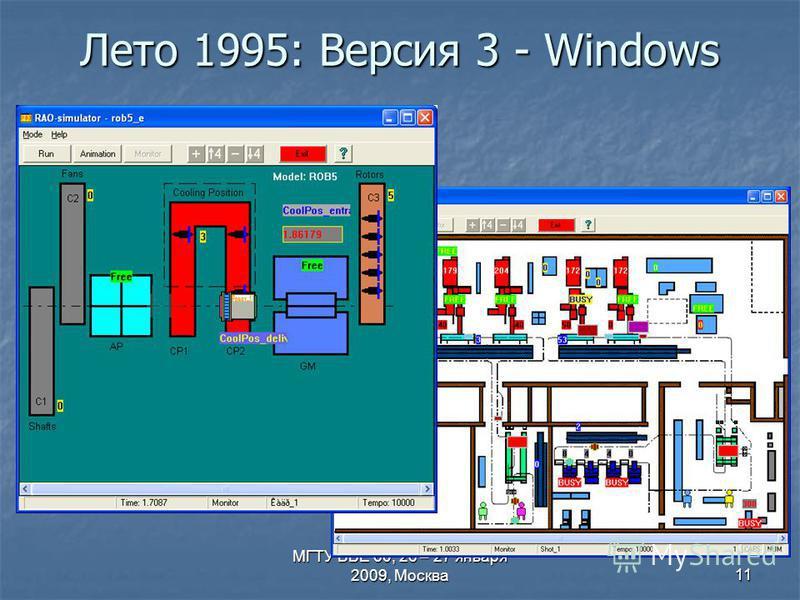 МГТУ ВВЕ 60, 26 – 27 января 2009, Москва 11 Лето 1995: Версия 3 - Windows