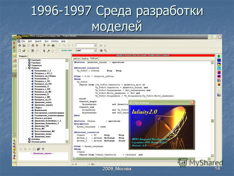 МГТУ ВВЕ 60, 26 – 27 января 2009, Москва 14 1996-1997 Среда разработки моделей