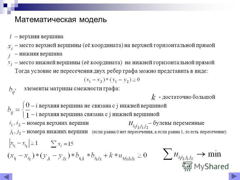Математическая модель – верхняя вершина – место верхней вершины (её координата) на верхней горизонтальной прямой – нижняя вершина – место нижней вершины (её координата) на нижней горизонтальной прямой Тогда условие не пересечения двух ребер графа мож