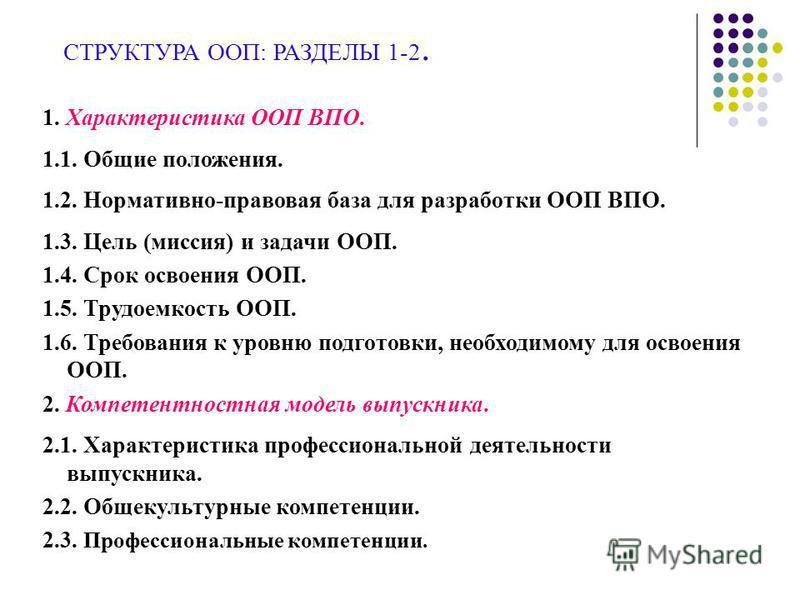 СТРУКТУРА ООП: РАЗДЕЛЫ 1-2. 1. Характеристика ООП ВПО. 1.1. Общие положения. 1.2. Нормативно-правовая база для разработки ООП ВПО. 1.3. Цель (миссия) и задачи ООП. 1.4. Срок освоения ООП. 1.5. Трудоемкость ООП. 1.6. Требования к уровню подготовки, не