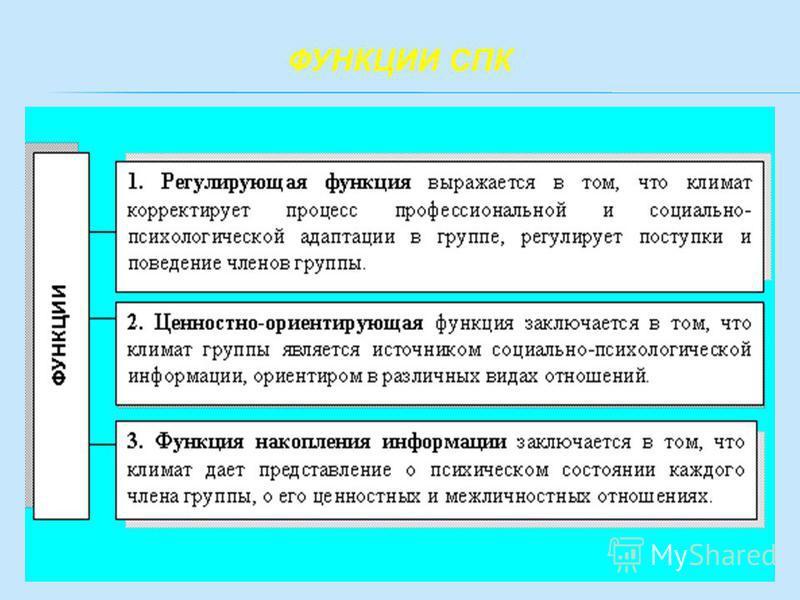 ФУНКЦИИ СПК