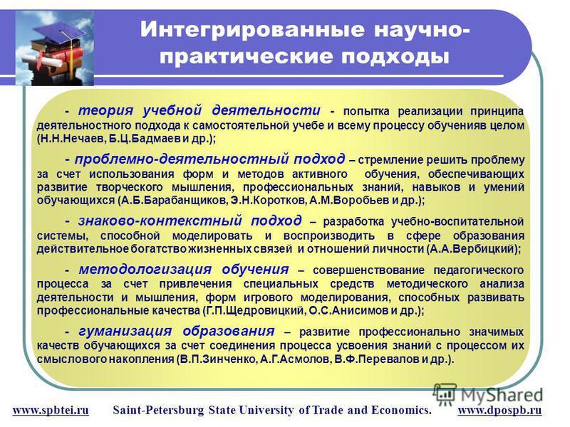 Интегрированные научно- практические подходы www.spbtei.ru Saint-Petersburg State University of Trade and Economics. www.dpospb.ru - теория учебной деятельности - попытка реализации принципа деятельностного подхода к самостоятельной учебе и всему про