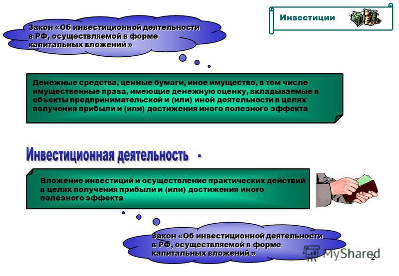 2 Инвестиции Закон «Об инвестиционной деятельности в РФ, осуществляемой в форме капитальных вложений » Закон «Об инвестиционной деятельности в РФ, осуществляемой в форме капитальных вложений » Денежные средства, ценные бумаги, иное имущество, в том ч
