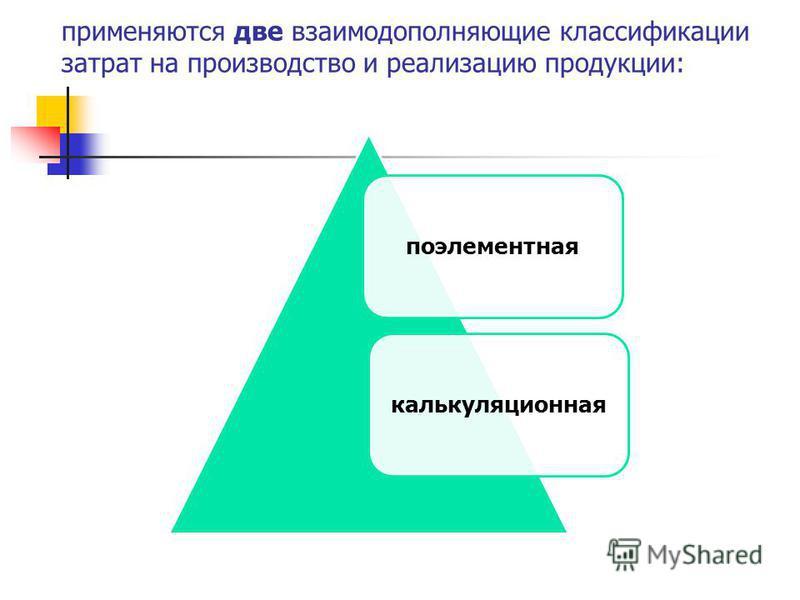 применяются две взаимодополняющие классификации затрат на производство и реализацию продукции: поэлементная калькуляционная