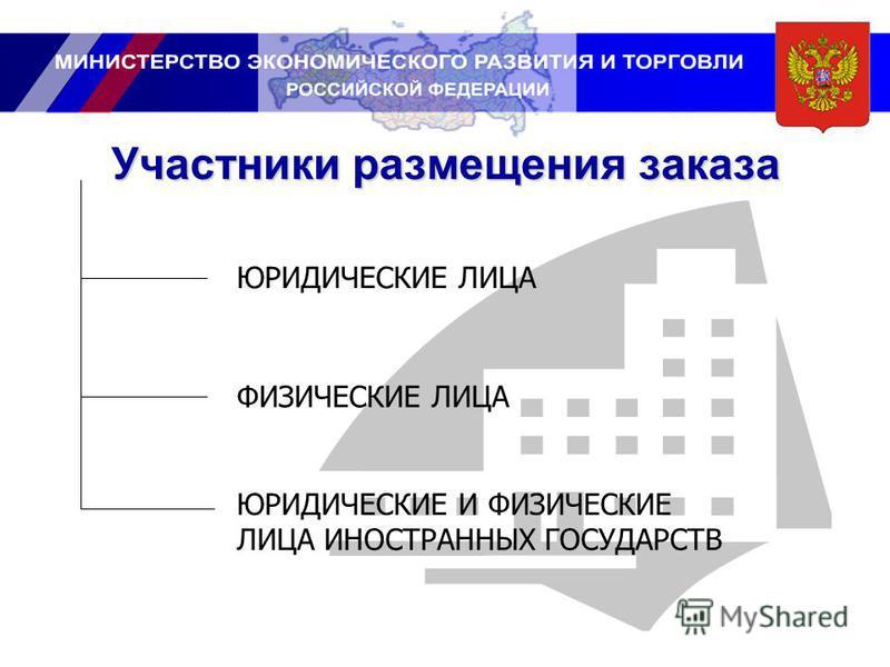 Участники размещения заказа ЮРИДИЧЕСКИЕ ЛИЦА ФИЗИЧЕСКИЕ ЛИЦА ЮРИДИЧЕСКИЕ И ФИЗИЧЕСКИЕ ЛИЦА ИНОСТРАННЫХ ГОСУДАРСТВ