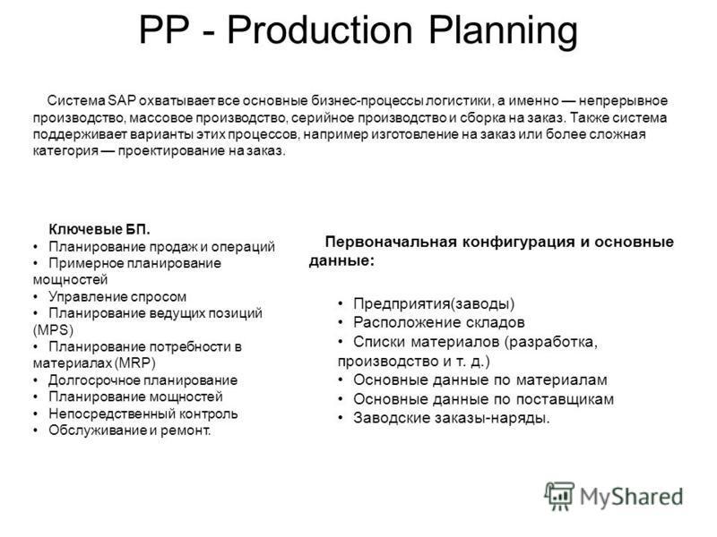 PP - Production Planning Ключевые БП. Планирование продаж и операций Примерное планирование мощностей Управление спросом Планирование ведущих позиций (MPS) Планирование потребности в материалах (MRP) Долгосрочное планирование Планирование мощностей Н