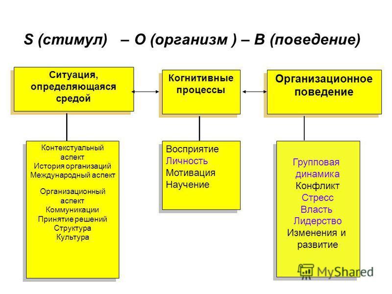 S (стимул) – O (организм ) – B (поведение) Когнитивные процессы Ситуация, определяющаяся средой Организационное поведение Контекстуальный аспект История организаций Международный аспект Организационный аспект Коммуникации Принятие решений Структура К