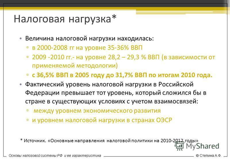 Основы налоговой системы РФ и ее характеристика Степина А.Ф. Налоговая нагрузка* Величина налоговой нагрузки находилась: в 2000-2008 гг на уровне 35-36% ВВП 2009 -2010 гг.- на уровне 28,2 – 29,3 % ВВП (в зависимости от применяемой методологии) с 36,5